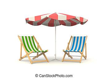 sol, dos, cama, parasoles