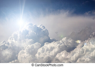sol, dramatisk, skyn, oväder