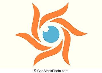 sol, dsign, olho, logotipo