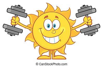 sol, dumbbells, ydre arbejd