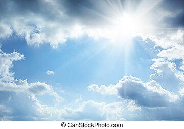 sol, e, nuvens