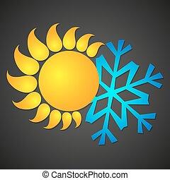 sol, e, snowflake, para, temperatura, mudanças