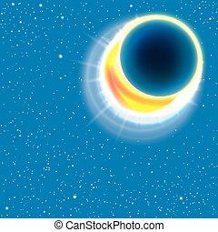 sol, eclipse., vetorial, illustration.