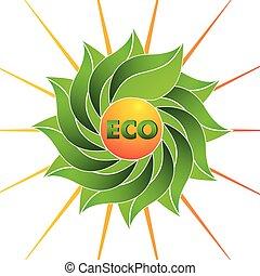 sol, ecologia, folheia, logotipo