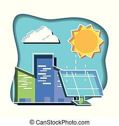 sol, edifícios, painel solar