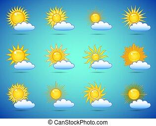 sol, em, a, céu, ícones, jogo