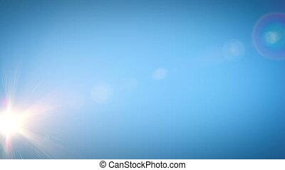 sol, em movimento, através, claro, céu azul