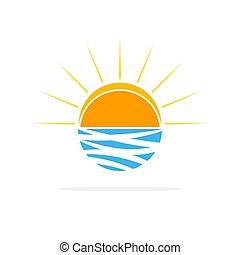 sol, en, el, ondas, logo., vector, illustration.