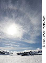 sol, encima, glaciares