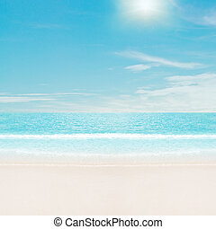 sol, encima, playa tropical