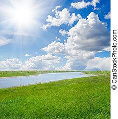 sol, encima, río