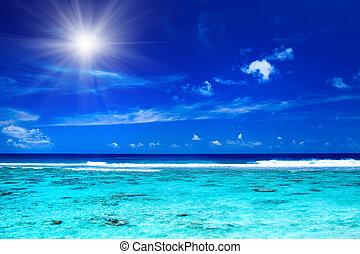 sol, encima, tropical, océano, con, vibrante, colores