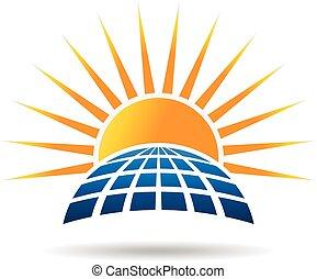 sol energi, photovoltaic, panel., vektor, grafik formge