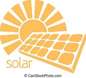 sol, energia, conceito, painel solar
