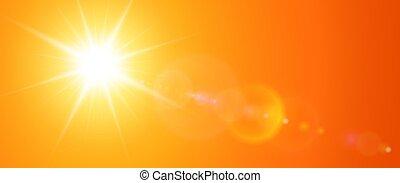 sol, ensolarado, lente, fundo, chama, laranja