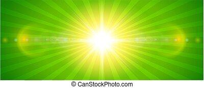sol, ensolarado, lente, fundo, verde, chama