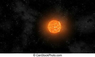 sol, erupções, oval, orbiting, volta