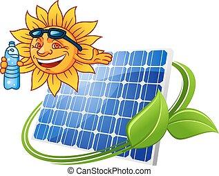 sol, estilo, caricatura, painel solar