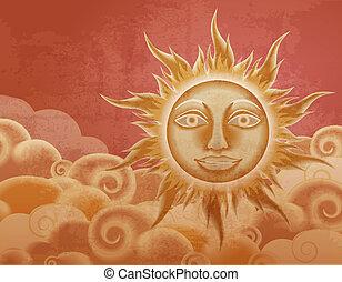 sol, estilo, nubes, retro, ilustración