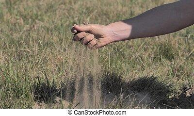 sol, examiner, il, par, bas, sec, paysan, lentement, soil...