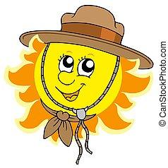 sol, explorador, sombrero