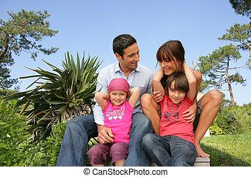 sol, família, sentando