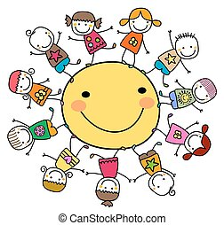 sol, feliz, niños, alrededor, juego