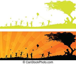 sol, feliz, tocando, crianças, h