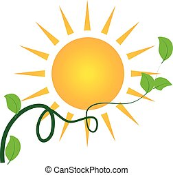 sol, folheia, logotipo