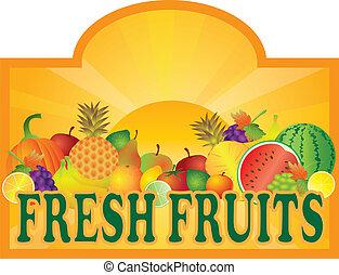 sol, frutas, ilustração, levantar, signage, fresco