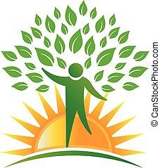 sol, gente, árbol, logotipo