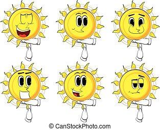 sol, gesture., hand, tid, tecknad film, ute