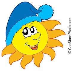 sol, gorra, invierno