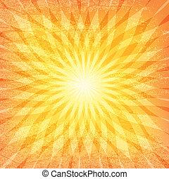 sol, grunge, padrão, sunburst