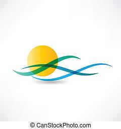 sol, hav, abstractly, ikon