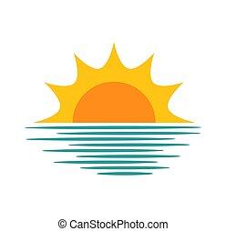 sol, hen, solnedgang, icon., hav