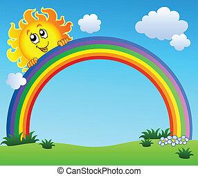 sol, holde, regnbue, på, blå himmel