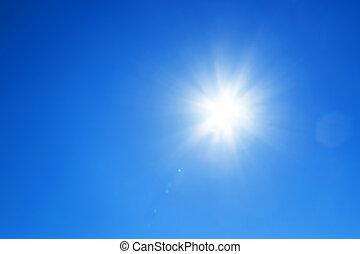sol, hos, blå himmel