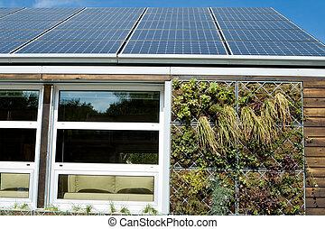 sol, hus, pv, paneler, grå, vatten, återvinnande, system