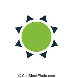 sol, icono, vector, verde