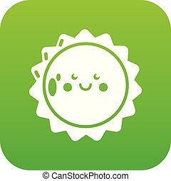 sol, icono, verde, vector
