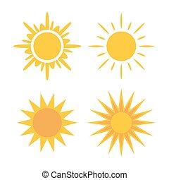 sol, iconos, conjunto, colección, amarillo, señales