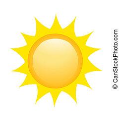 sol, ikon, vektor, illustration