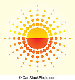 sol, ilustração, artisticos, fundo, luz, laranja