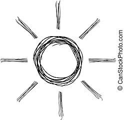 sol, ilustração, desenho