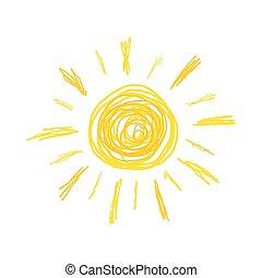 sol, ilustração, doodle