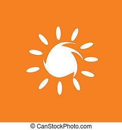 sol, ilustração, em, branca, cor, vetorial