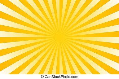 sol, ilustração, experiência., vetorial, retro, sunburst, rays.