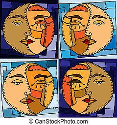 sol, ilustração, lua