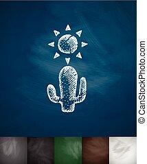 sol, ilustração, mão, vetorial, desenhado, icon., cacto